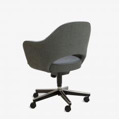 Eero Saarinen Saarinen Executive Arm Chairs in Textured Charcoal Weave Swivel Base Set of 6 - 367310