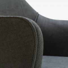 Eero Saarinen Saarinen Executive Arm Chairs in Textured Charcoal Weave Swivel Base Set of 6 - 367311