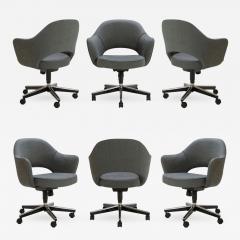 Eero Saarinen Saarinen Executive Arm Chairs in Textured Charcoal Weave Swivel Base Set of 6 - 367957