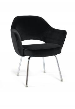Eero Saarinen Saarinen Executive Armchairs in Black Velvet Set of Six - 240263