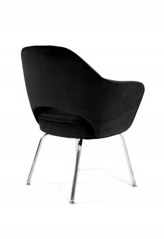 Eero Saarinen Saarinen Executive Armchairs in Black Velvet Set of Six - 240264