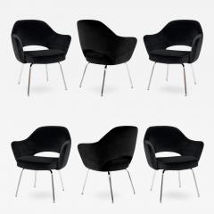 Eero Saarinen Saarinen Executive Armchairs in Black Velvet Set of Six - 241188