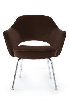 Eero Saarinen Saarinen Executive Armchairs in Espresso Brown Velvet Set of Six - 244807
