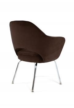 Eero Saarinen Saarinen Executive Armchairs in Espresso Brown Velvet Set of Six - 244808