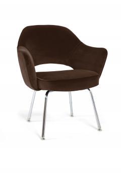 Eero Saarinen Saarinen Executive Armchairs in Espresso Brown Velvet Set of Six - 244809