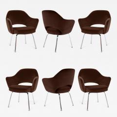 Eero Saarinen Saarinen Executive Armchairs in Espresso Brown Velvet Set of Six - 245127