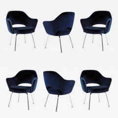 Eero Saarinen Saarinen Executive Armchairs in Espresso Navy Velvet Set of Six - 245783