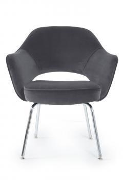 Eero Saarinen Saarinen Executive Armchairs in Gunmetal Grey Velvet Set of Six - 240256