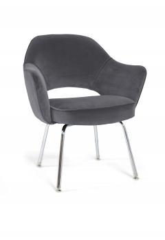 Eero Saarinen Saarinen Executive Armchairs in Gunmetal Grey Velvet Set of Six - 240257
