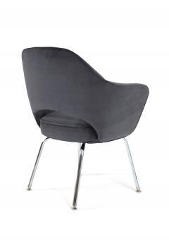 Eero Saarinen Saarinen Executive Armchairs in Gunmetal Grey Velvet Set of Six - 240258