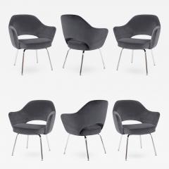 Eero Saarinen Saarinen Executive Armchairs in Gunmetal Grey Velvet Set of Six - 241186