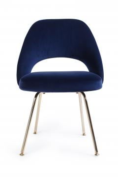 Eero Saarinen Saarinen Executive Armless Chair in Navy Velvet 24k Gold Edition - 253995