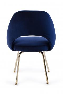 Eero Saarinen Saarinen Executive Armless Chair in Navy Velvet 24k Gold Edition - 253997
