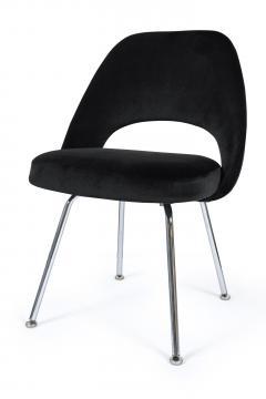 Eero Saarinen Saarinen Executive Armless Chairs in Black Velvet Set of Six - 244795