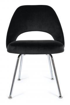 Eero Saarinen Saarinen Executive Armless Chairs in Black Velvet Set of Six - 244796