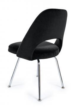 Eero Saarinen Saarinen Executive Armless Chairs in Black Velvet Set of Six - 244797