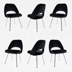 Eero Saarinen Saarinen Executive Armless Chairs in Black Velvet Set of Six - 245125