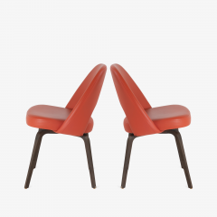 Eero Saarinen Saarinen Executive Armless Chairs in Burnt Orange Leather and Walnut Legs Pair - 1430688