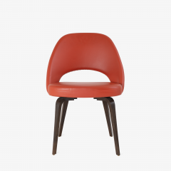 Eero Saarinen Saarinen Executive Armless Chairs in Burnt Orange Leather and Walnut Legs Pair - 1430689
