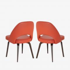 Eero Saarinen Saarinen Executive Armless Chairs in Burnt Orange Leather and Walnut Legs Pair - 1430690