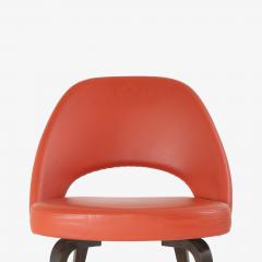 Eero Saarinen Saarinen Executive Armless Chairs in Burnt Orange Leather and Walnut Legs Pair - 1430692