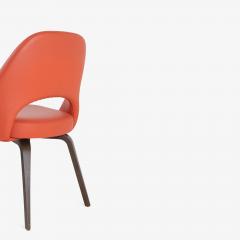 Eero Saarinen Saarinen Executive Armless Chairs in Burnt Orange Leather and Walnut Legs Pair - 1430693