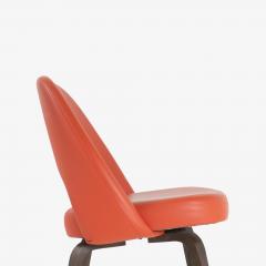 Eero Saarinen Saarinen Executive Armless Chairs in Burnt Orange Leather and Walnut Legs Pair - 1430694