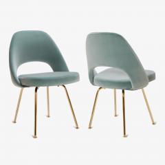 eero saarinen saarinen executive armless chairs in celadon velvet