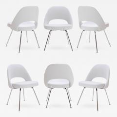 Eero Saarinen Saarinen Executive Armless Chairs in Dove Luxe Suede Set of 6 - 397223