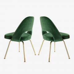 Eero Saarinen Saarinen Executive Armless Chairs in Emerald Velvet 24k Gold Edition - 524829