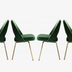 Eero Saarinen Saarinen Executive Armless Chairs in Emerald Velvet 24k Gold Edition - 524830