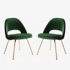 Eero Saarinen Saarinen Executive Armless Chairs in Emerald Velvet 24k Gold Edition - 524831