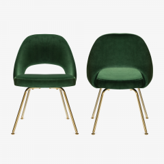 Eero Saarinen Saarinen Executive Armless Chairs in Emerald Velvet 24k Gold Edition - 524832