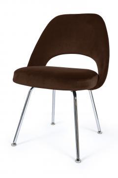 Eero Saarinen Saarinen Executive Armless Chairs in Espresso Brown Velvet Set of Six - 244803