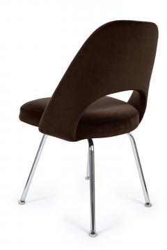 Eero Saarinen Saarinen Executive Armless Chairs in Espresso Brown Velvet Set of Six - 244804