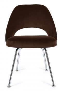 Eero Saarinen Saarinen Executive Armless Chairs in Espresso Brown Velvet Set of Six - 244805