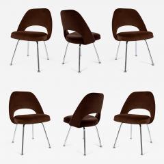 Eero Saarinen Saarinen Executive Armless Chairs in Espresso Brown Velvet Set of Six - 245126