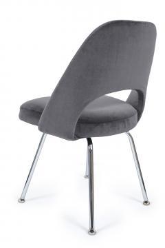 Eero Saarinen Saarinen Executive Armless Chairs in Gunmetal Grey Velvet Set of Six - 244783