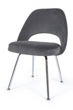 Eero Saarinen Saarinen Executive Armless Chairs in Gunmetal Grey Velvet Set of Six - 244785