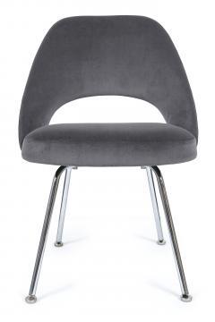 Eero Saarinen Saarinen Executive Armless Chairs in Gunmetal Grey Velvet Set of Six - 244786