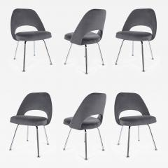 Eero Saarinen Saarinen Executive Armless Chairs in Gunmetal Grey Velvet Set of Six - 245124