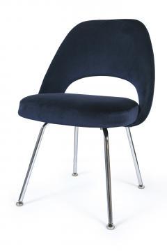 Eero Saarinen Saarinen Executive Armless Chairs in Navy Velvet Set of 6 - 246329