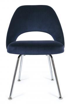 Eero Saarinen Saarinen Executive Armless Chairs in Navy Velvet Set of 6 - 246330