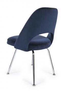 Eero Saarinen Saarinen Executive Armless Chairs in Navy Velvet Set of 6 - 246331