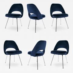 Eero Saarinen Saarinen Executive Armless Chairs in Navy Velvet Set of 6 - 246378