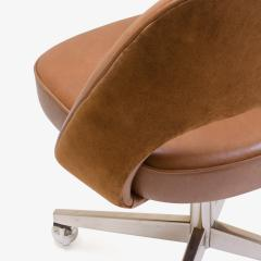 Eero Saarinen Saarinen for Knoll Executive Armless Chair in Saddle Leather Suede Swivel Base - 291820