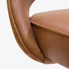 Eero Saarinen Saarinen for Knoll Executive Armless Chair in Saddle Leather Suede Swivel Base - 291822