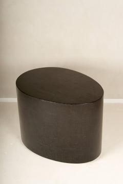 Egg Shaped Table egg shaped side table, in gesso crackle lacquer with brass detail