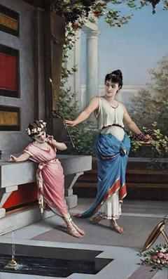 Egisto Sarri Pompeian Scene Oil on Canvas - 637261