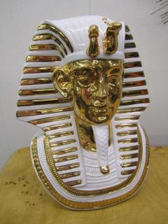 Egyptian King Tut Italian Ceramic Sculpture Bust Hollywood Regency - 1862665